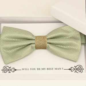 Sage green burlap bow tie Best man Groomsman Man of honor Ring Bearer bow tie request gift, Birthday congrats cards, Adjustable Pre tied