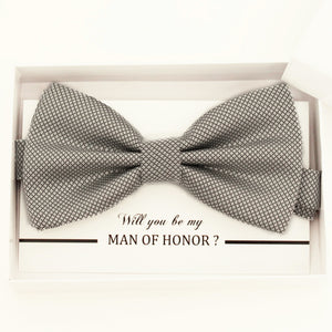 Silver bow tie, Best man request gift, Groomsman bow tie, Ring Bearer bow tie request, Man of honor gift,best man request, toddler bow