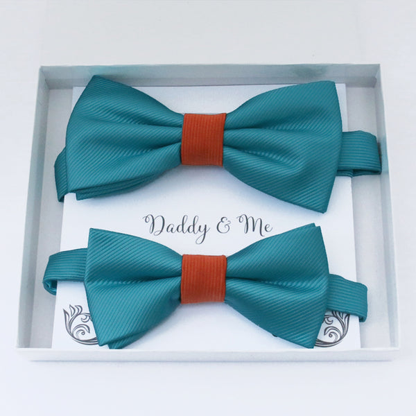 Teal blue and cinnamon Bow tie set daddy son, Daddy and me gift, Grandpa and me, Father son matching, Kids bow tie, Kids adult bow tie, High quality