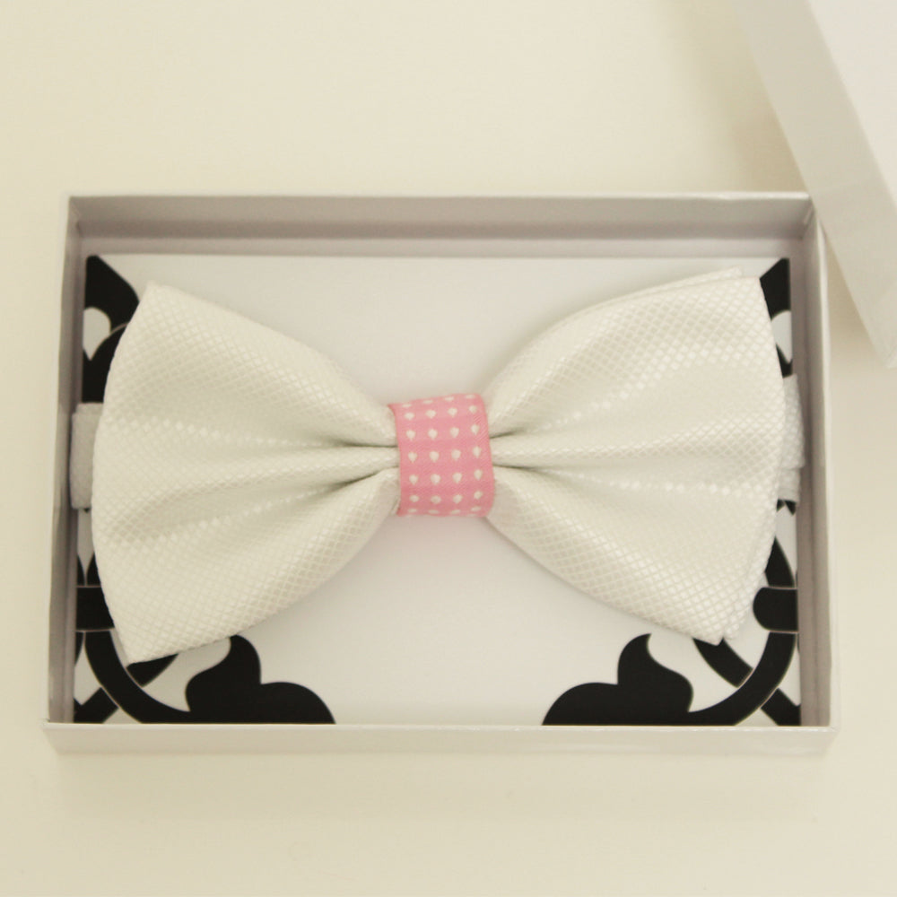 White and pink bow tie, Best man request bow, Groomsman bow tie, Ring Bearer bow tie, Man of honor gift, Kids bow, handmade bow tie