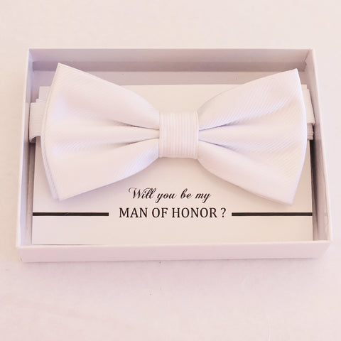 White bow tie, Best man request gift, Groomsman bow tie, Man of honor gift, Best man bow tie, best man gift, man of honor request, thank you
