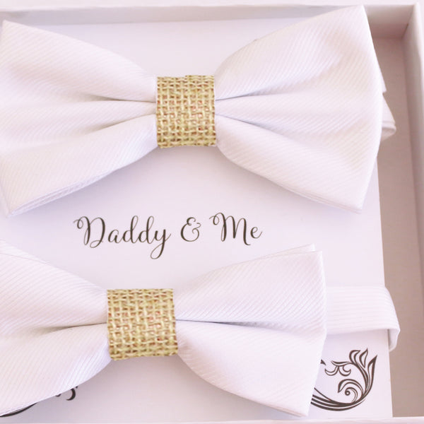White burlap Bow tie set for daddy and son Daddy me gift set Father son match Handmade White burlap kids bow Adjustable pre tied bow
