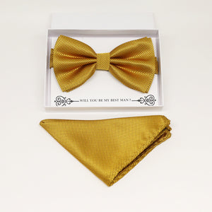 Gold bow tie & Gold Pocket Square, Best man Groomsman Man of honor ring breaer bow, birthday gift, Congrats grad, Gold handkerchief