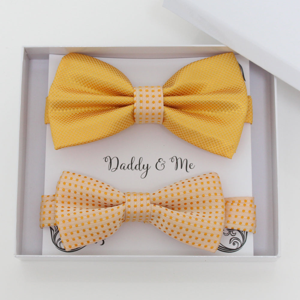 Yellow and pale gold bow tie set for daddy and son, Daddy and me gift set, Grandpa and me, Father son matching, Toddler bow, pale gold bow