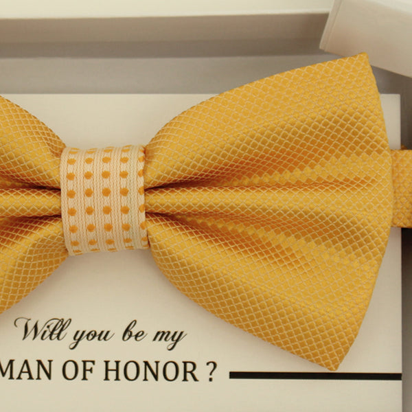 Yellow bow tie, Best man request gift, Groomsman bow tie, Man of honor gift, Best man bow tie, man of honor, Thank you, Yellow bow tie
