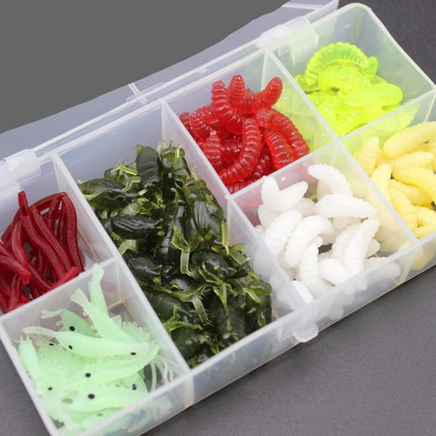 Earthworm, Shrimp, Grub Soft bait Kit (140 pcs)