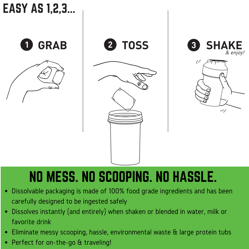 When you toss a Dissolvable Protein Scoop into your bottle it performs a miracle right before your eyes as it dissolves instantly when shaken or blended! Dissolvable packaging is made of 100% food grade ingredients and has been carefully designed to be ingested safely. Dissolves instantly (and entirely) when shaken or blended Eliminate messy scooping, clumping, environmental waste & large protein tubs. Perfect for on-the-go & traveling!