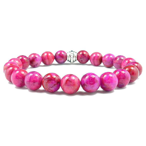 Agate (Dyed Pink) 8mm Round Crystal Bead Bracelet