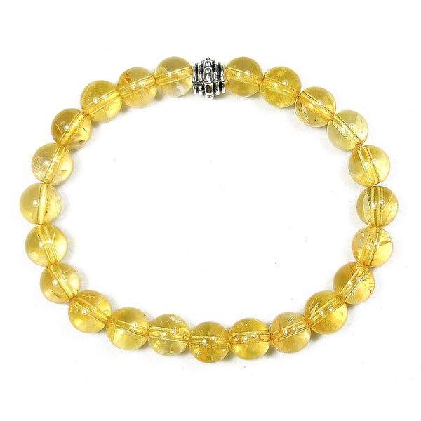 Citrine 8mm Round Crystal Bead Bracelet