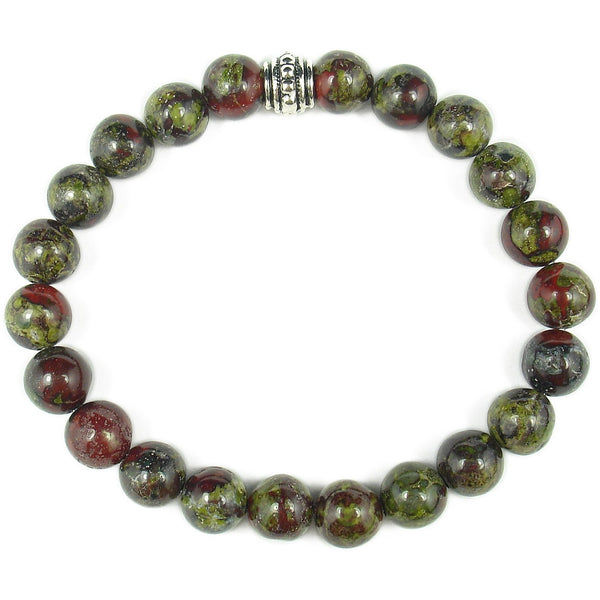 Dragon Blood Jasper 8mm Round Crystal Bead Bracelet