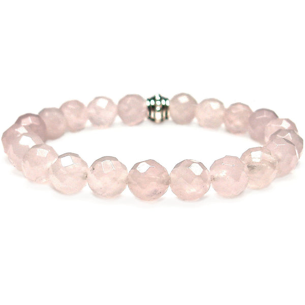 Rose Quartz Faceted 8mm Round Crystal Bead Bracelet