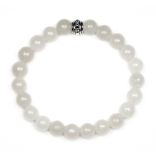 Snow Quartz 8mm Round Crystal Bead Bracelet