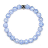 Blue Lace Agate 8mm Round Crystal Bead Bracelet