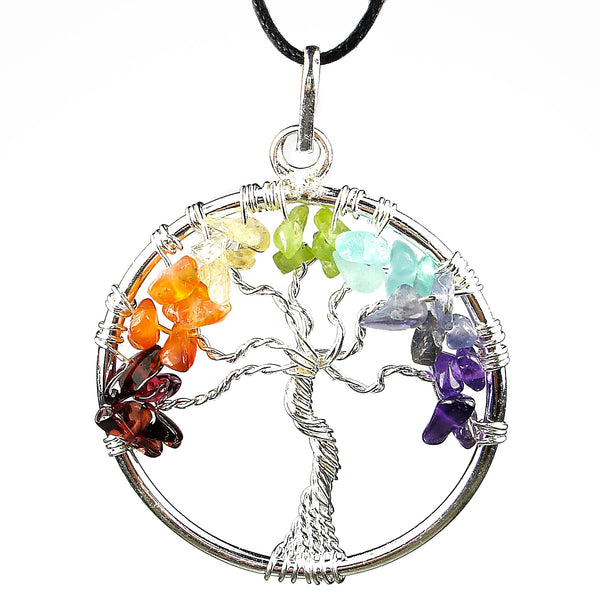 "Chakra Balancer ""Tree of Life"" Wire Wrapped Crystal Pendant"