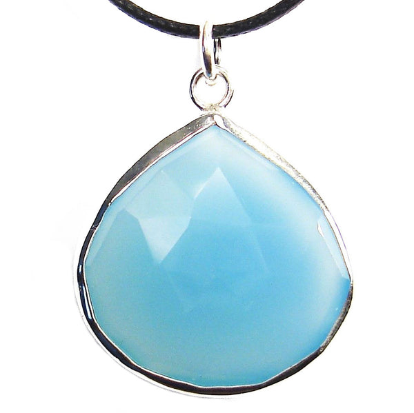 Blue Chalcedony Faceted Crystal Drop Pendant