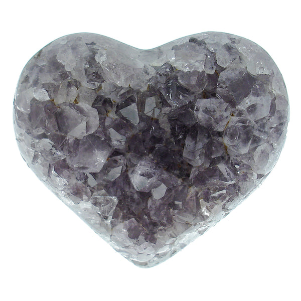 Amethyst Natural Crystal Druze Geode Cluster Carved Heart - Piece #1