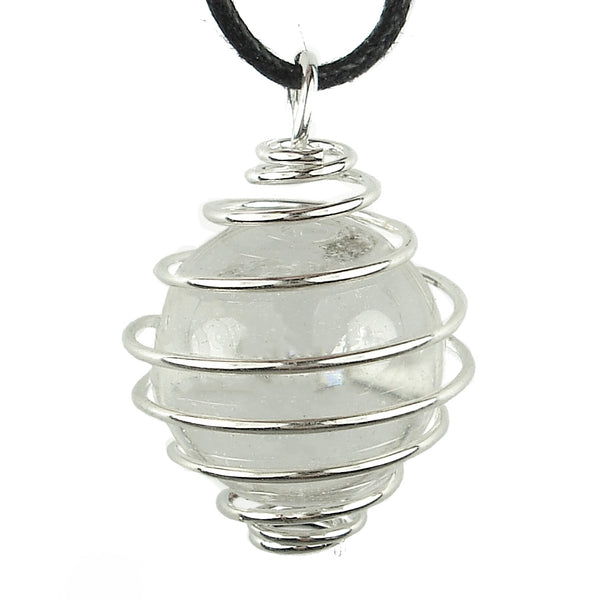 Clear Quartz Caged Crystal Sphere Pendant