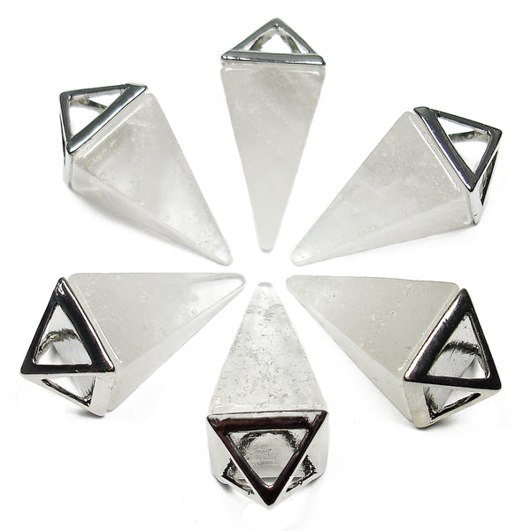 Clear Quartz Crystal Pyramid Pendant