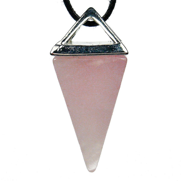 Rose Quartz Crystal Pyramid Pendant