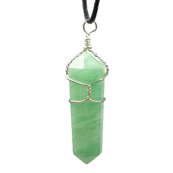Aventurine Wire Wrapped Double Terminated Crystal Wand Pendant
