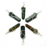 Bloodstone Wire Wrapped Double Terminated Crystal Wand Pendant