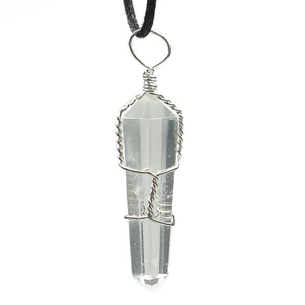 Clear Quartz Wire Wrapped Double Terminated Crystal Wand Pendant