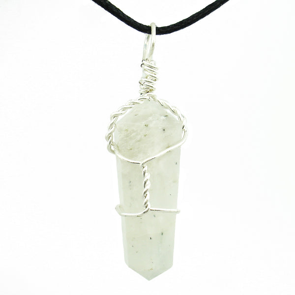 Moonstone Wire Wrapped Double Terminated Crystal Wand Pendant