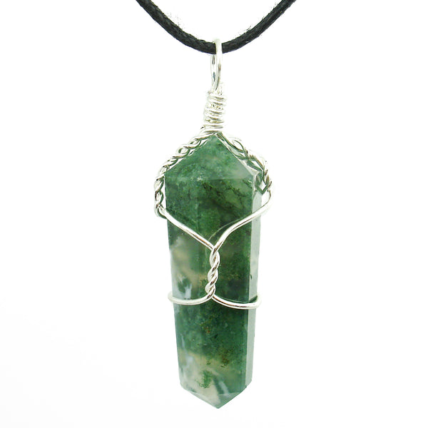 Moss Agate Wire Wrapped Double Terminated Crystal Wand Pendant