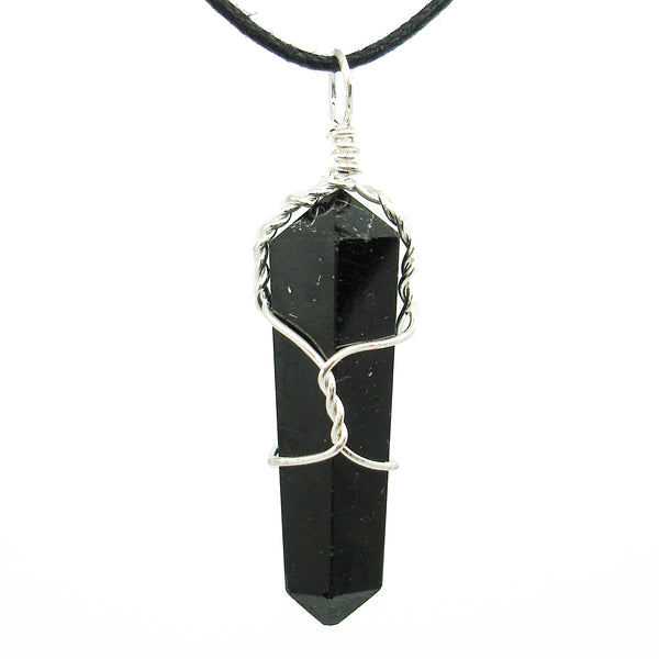 Black Tourmaline Wire Wrapped Double Terminated Crystal Wand Pendant