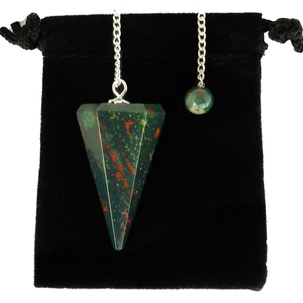 Bloodstone Hexagonal Crystal Pendulum