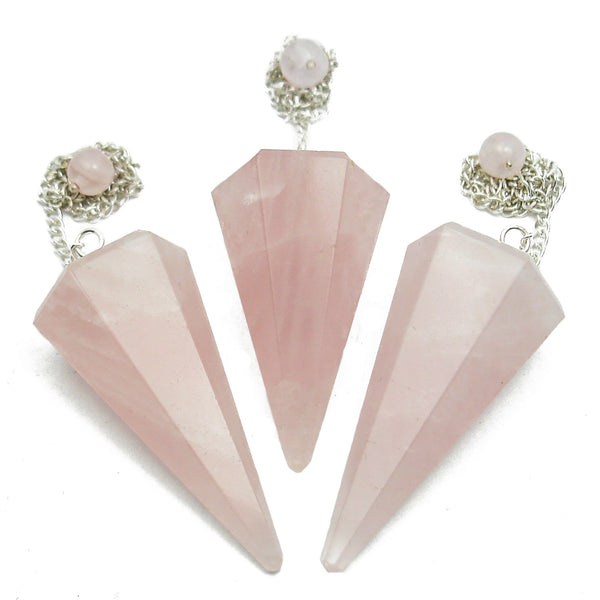 Rose Quartz Hexagonal Crystal Pendulum