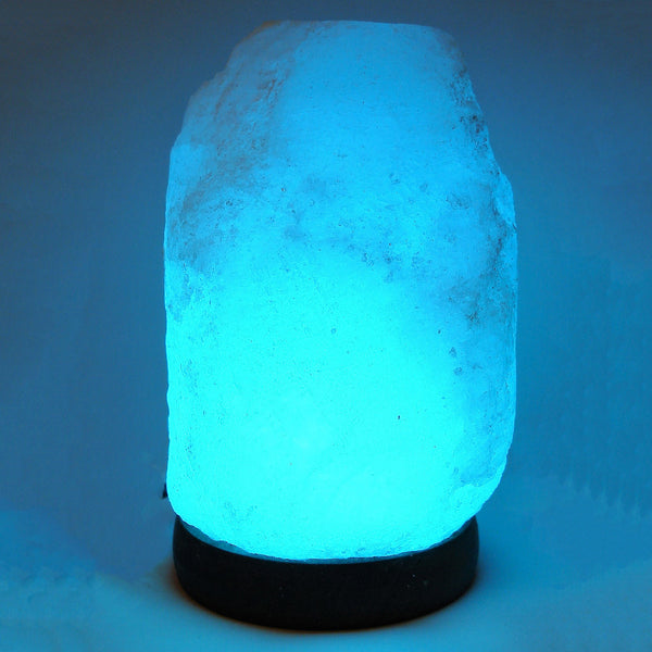 Himalayan Salt Lamp - White Natural Rough Shape with Color Changing LED & USB Plug