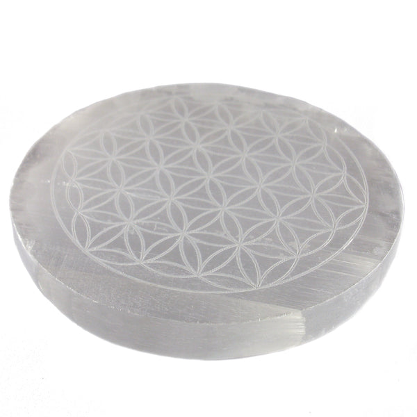 "Satin Spar Selenite ""Flower of Life"" Crystal Charging Plate"