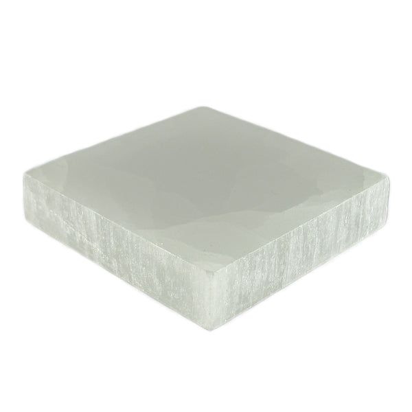 "Satin Spar Selenite Square Crystal Charging Plate (2"")"