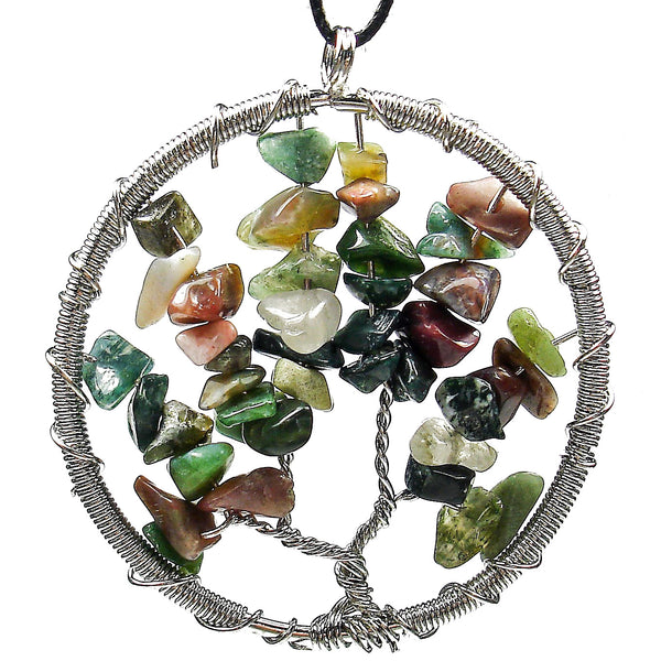 "Jasper ""Tree of Life"" Wire Wrapped Crystal Pendant"