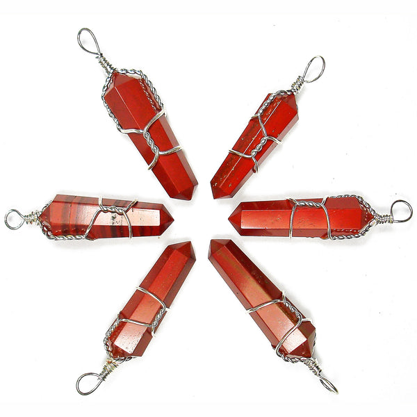 Red Jasper Wire Wrapped Double Terminated Crystal Wand Pendant