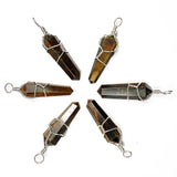 Tiger's Eye Wire Wrapped Double Terminated Crystal Wand Pendant