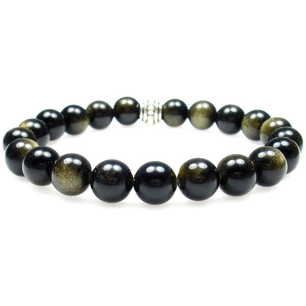 Obsidian (Gold Sheen) 8mm Round Crystal Bead Bracelet