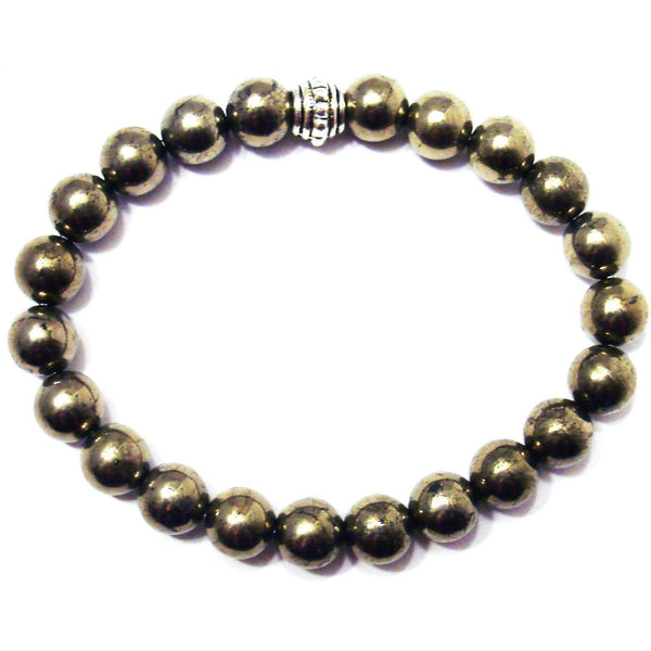 Iron Pyrite 8mm Round Crystal Bead Bracelet