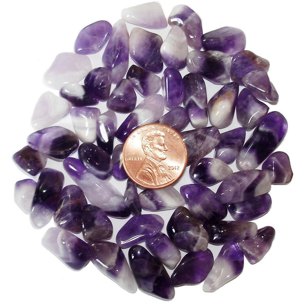 Chevron (Banded) Amethyst Tumbled Crystal Sharing Stones