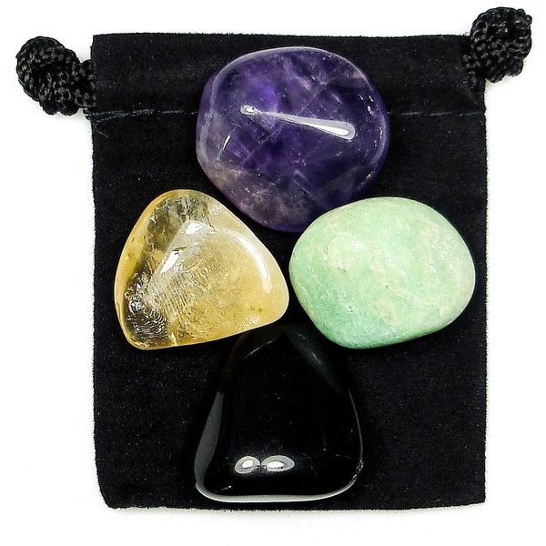 Negative Energy Block Tumbled Crystal Healing Set