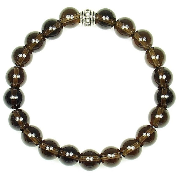 Smoky Quartz 8mm Round Crystal Bead Bracelet