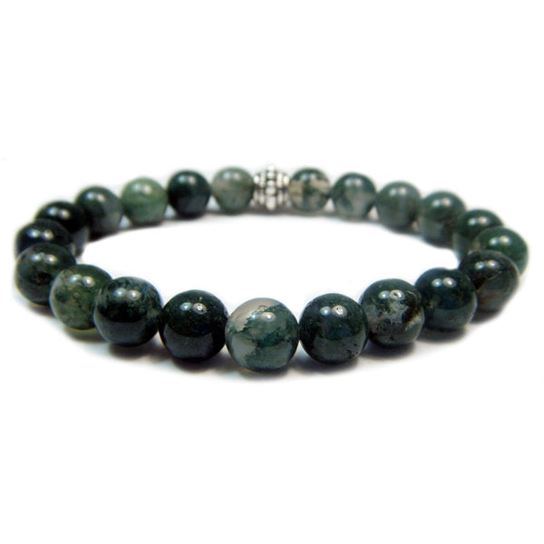 Moss Agate 8mm Round Crystal Bead Bracelet