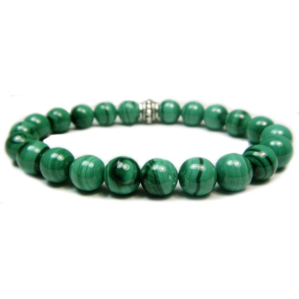 Malachite 8mm Round Crystal Bead Bracelet