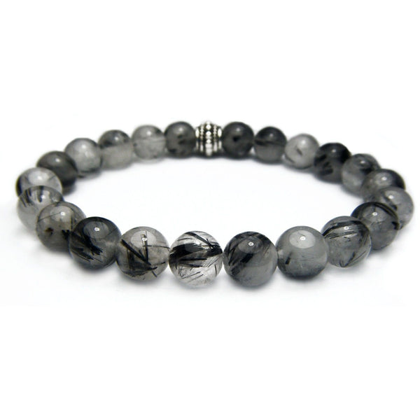 Tourmalinated Quartz 8mm Round Crystal Bead Bracelet