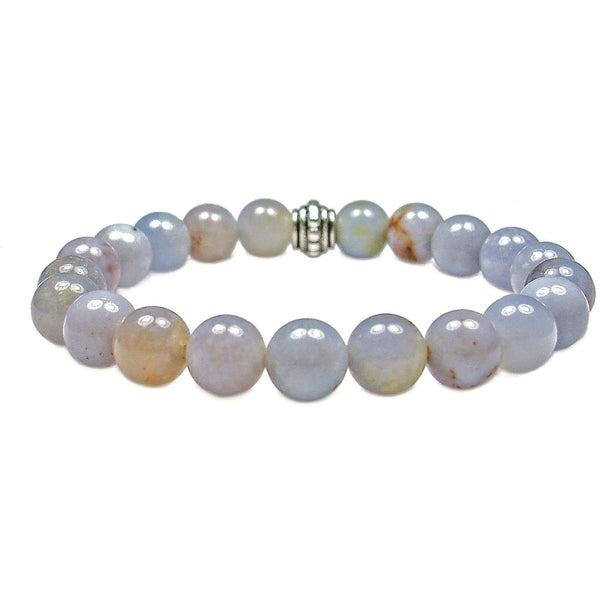 Blue Chalcedony 8mm Round Crystal Bead Bracelet