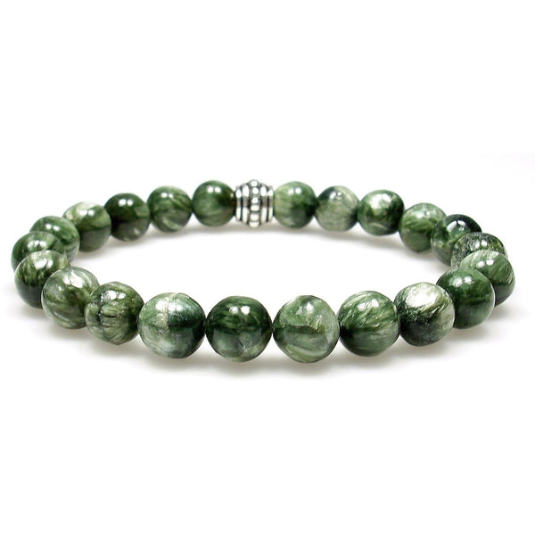 Seraphinite 8mm Round Crystal Bead Bracelet