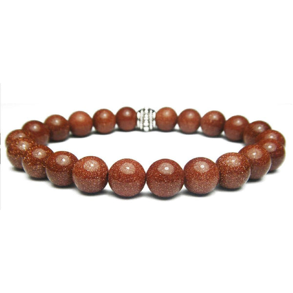 Goldstone 8mm Round Crystal Bead Bracelet