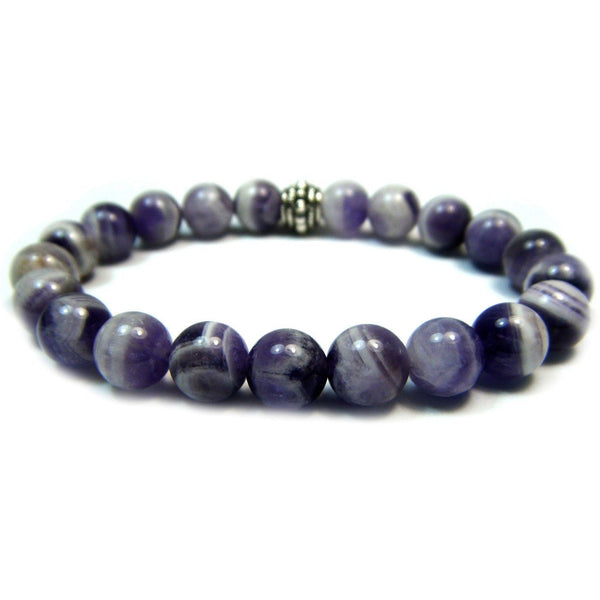 Chevron (Banded) Amethyst 8mm Round Crystal Bead Bracelet
