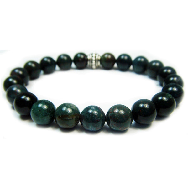Bloodstone 8mm Round Crystal Bead Bracelet
